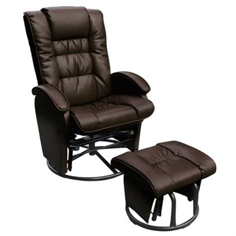 Leather Glider Rocker Recliner Chair With Ottoman Glider Ottoman Combo Push Back Bonded Leather Recliner