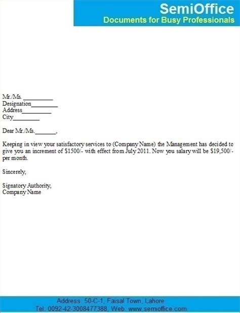 salary increase letter to employer template 3 salary increase letter to employeereport template