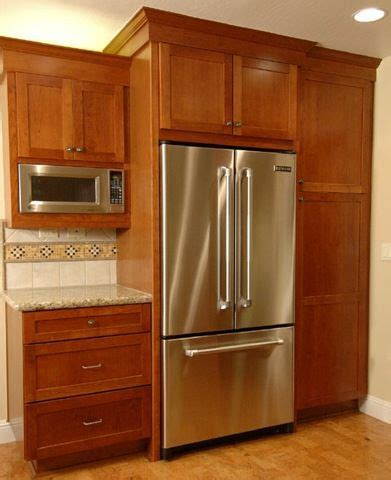 refrigerator kitchen cabinets refrigerator cabinet farm house re do pinterest