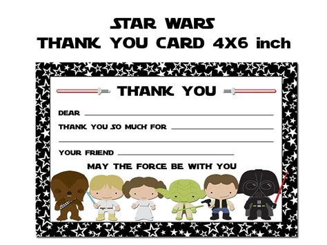 Printable Star Wars Thank You Notes | star wars thank you card star wars thank you note star wars
