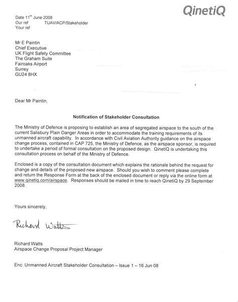 qinetiq stakeholder consultation letter june  ukfsc