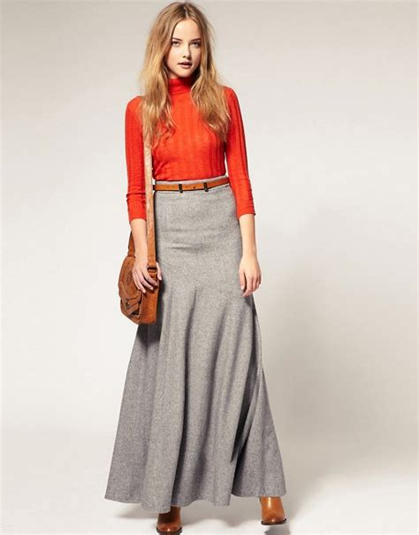 asos asos maxi skirt in wool mix