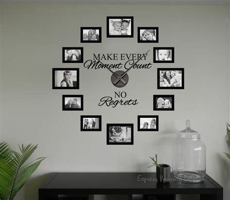 Quote Wall Stickers For Bedrooms no regrets picture frame clock wall art clock