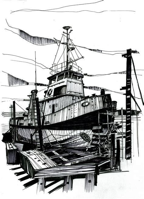 tugboat dwg robert onion 187 slipway tug pen ink pencil