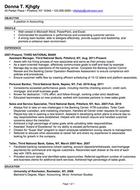 exles of chronological resumes resume exle for an accounting position