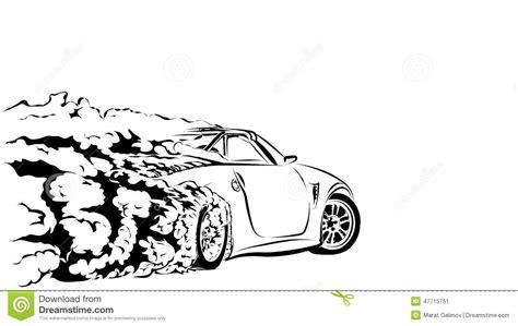 cartoon sports car black and white car sport drift stock vector image of sticker drift
