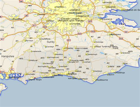 printable map eastbourne bognor regis map street and road maps of sussex england uk