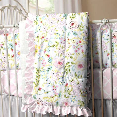 Pink And Gray Primrose 3 Piece Crib Bedding Set Carousel Pink And Grey Crib Bedding Sets