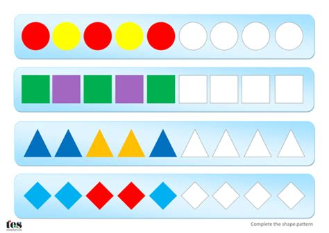 shape pattern games online complete simple shape patterns teacch activity by