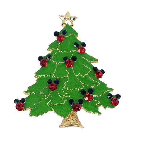 mickey mouse christmas tree pin brooch red black