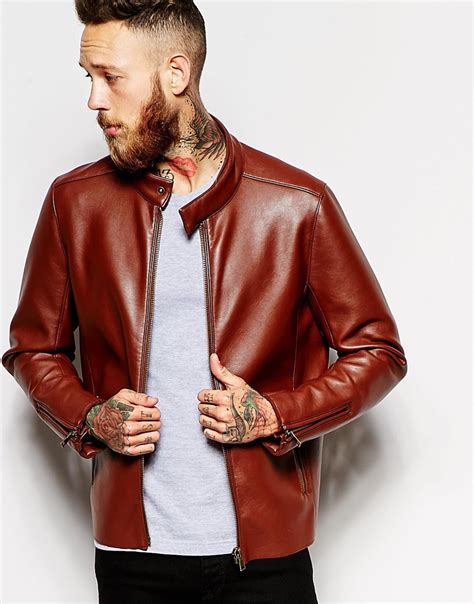 leather racing jacket lyst asos faux leather racing biker jacket in brown for men