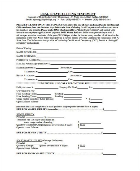 36 Exle Of Statement Forms Real Estate Closing Statement Template