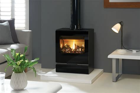 Fireplace Pipe by Gazco Vision Medium Gas Stove With Gloss Black Flue Pipe