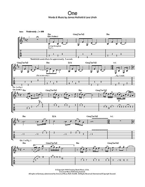 metallica one piano sheet music one guitar tab by metallica guitar tab 41602