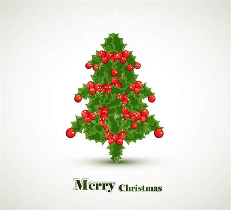 Merry christmas tree celebration bright colorful card