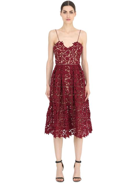 Azalea Dress self portrait azalea lace dress in blue bordeaux lyst
