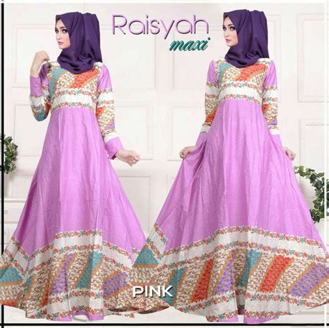 Dress Wanita Movina Katun Pink model baju gamis dress muslim motif batik cantik terbaru