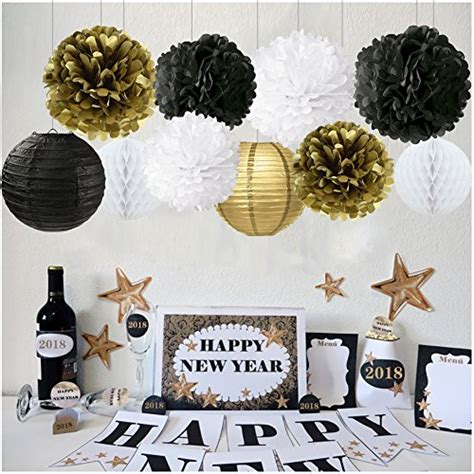 new year decoration kit new years decorations gold black white decor kit