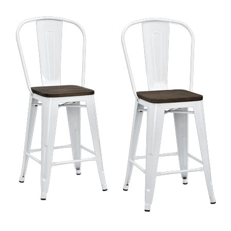 Dhp Luxor Metal Bar Stool by Dhp Luxor 24 Quot Metal Counter Stool With Wood Seat Set Of 2