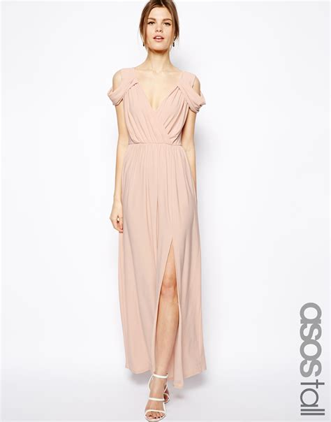 Asos Wrap Front Maxi Dress in Pink   Lyst