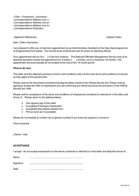 appointment letter format for electrician sle letter of acceptance for ira rollover docoments