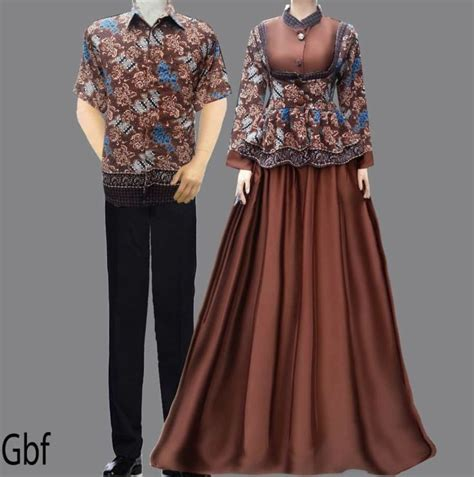 Sarimbit Dress Nabila Gentong Batik model gamis cantik baju gamis batik sarimbit coklat fashion models fashion
