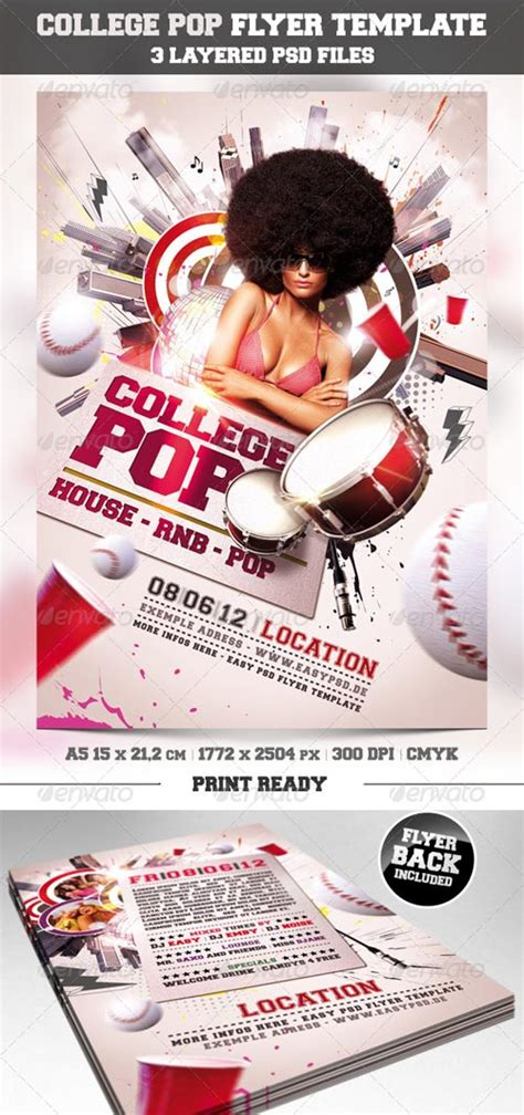 Graphicriver College Pop Flyer Template Graphicriver Iii Flyer Template