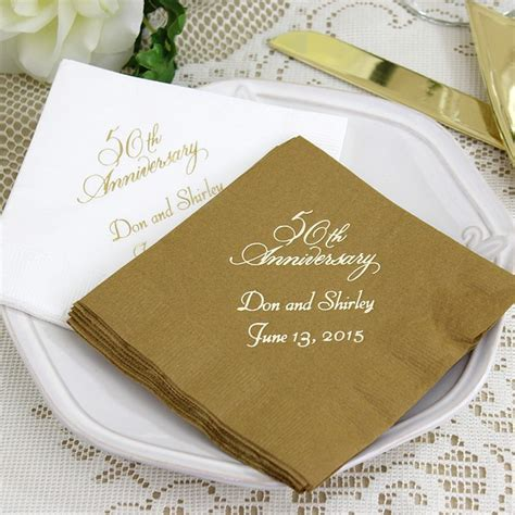 Wedding Anniversary Napkins by Custom Printed 50th Wedding Anniversary Cocktail Napkins