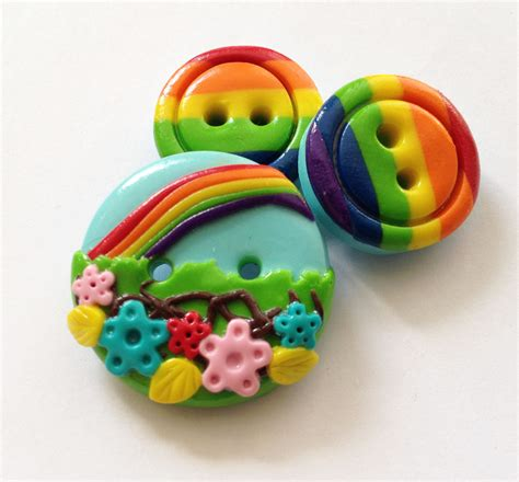 Handcrafted Buttons - rainbow buttons set of 3 polymer handmade buttons on luulla