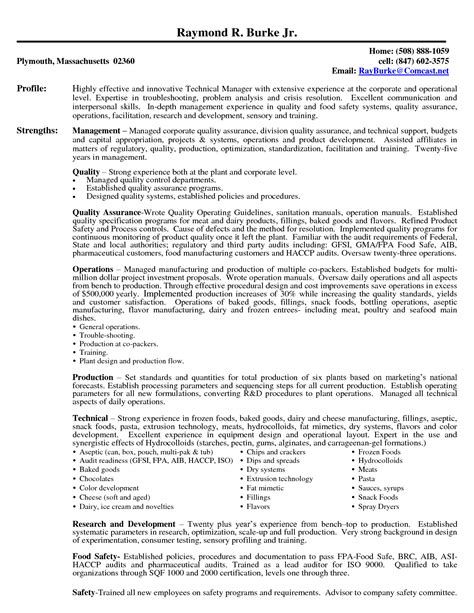 resume sle food safety manager security protective