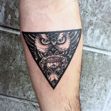 tattoo tribal triangle mystical owl goblet triangle tattoo on arms for men