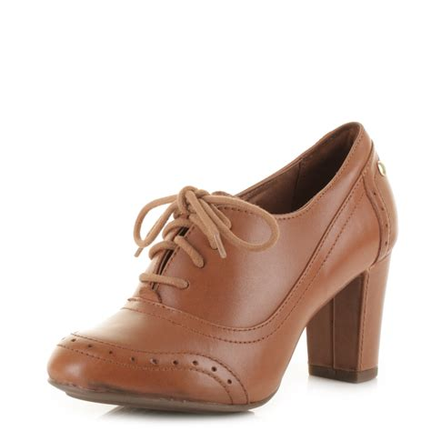 oxford shoes with heel womens hush puppies sisany oxford leather lace up
