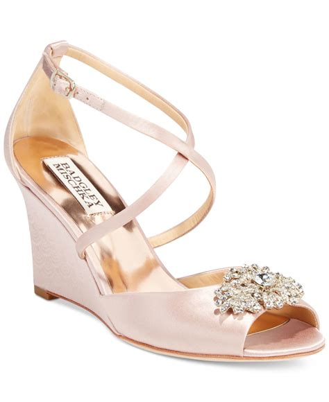 Blush Wedge Wedding Shoes by Badgley Mischka Abigail Evening Wedge Sandals In Pink Lyst
