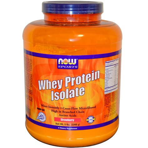 Now Whey Protein Isolate now foods sports whey protein isolate strawberry 5 lbs