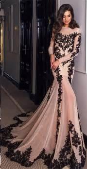 glamorous long sleeve black lace evening dress 2017