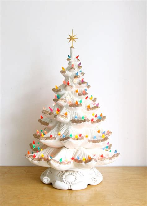 large vintage ceramic christmas tree electric