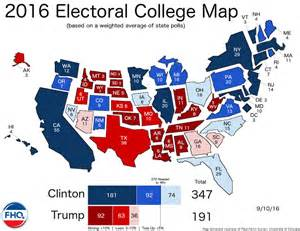2016 electoral map predictions 50 days to the election