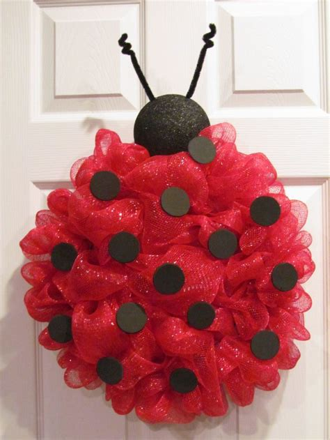 Lady bug deco mesh wreath via etsy very beautiful this is one she made