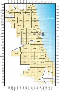 Chicago Streets Map by Map Showing Zip Code Areas And Major Streets Of The
