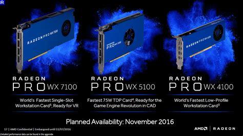 Vga Radeon Firepro Wx 5100 8 Gb amd radeon pro wx effiziente workstation grafikkarten