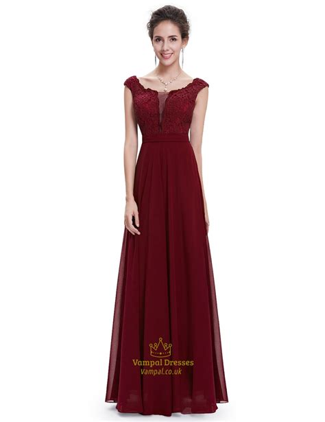 Chiffon Lace Dress burgundy chiffon cap sleeves bridesmaid dresses with