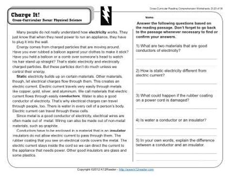 Static Electricity Worksheets For by Charge It Reading Comprehension Static Electricity And