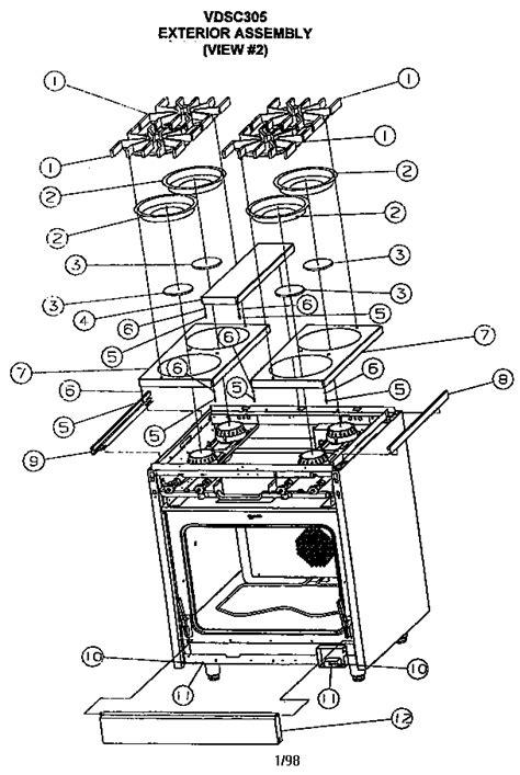 viking range parts diagram viking range corp electric gas slide in range parts
