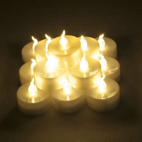 led tea lights with timer weanas 174 24pc warm white led tea light tealight candles