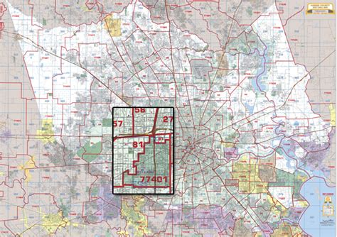 harris county texas zip code map houston harris county wall map with zip codes