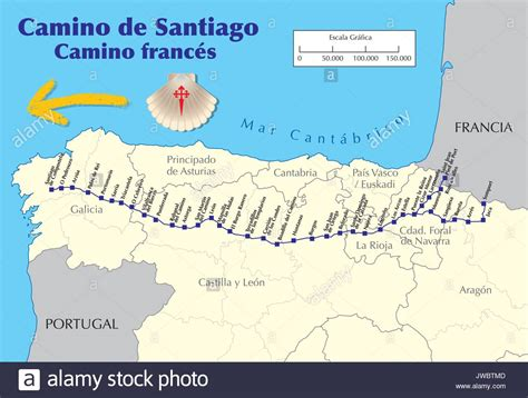 map of camino de santiago map of camino de santiago map of way with all