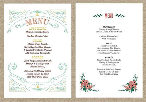 wedding menu styles