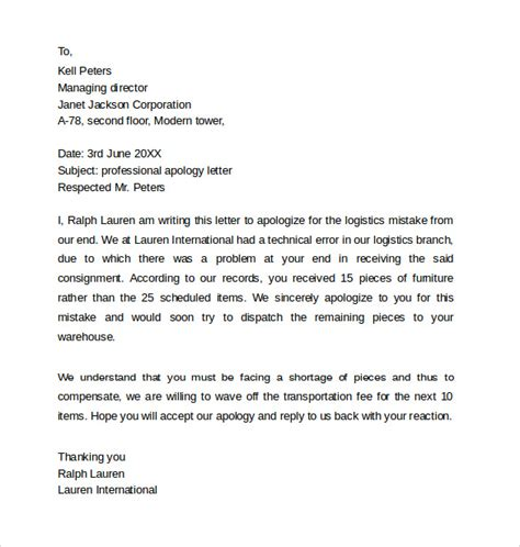 sample professional apology letter 10 download free