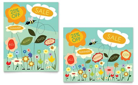 spring amp summer flowers sale poster template word