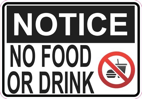 no food or drink 5in x 3 5in symbol notice no food or drink magnet magnetic